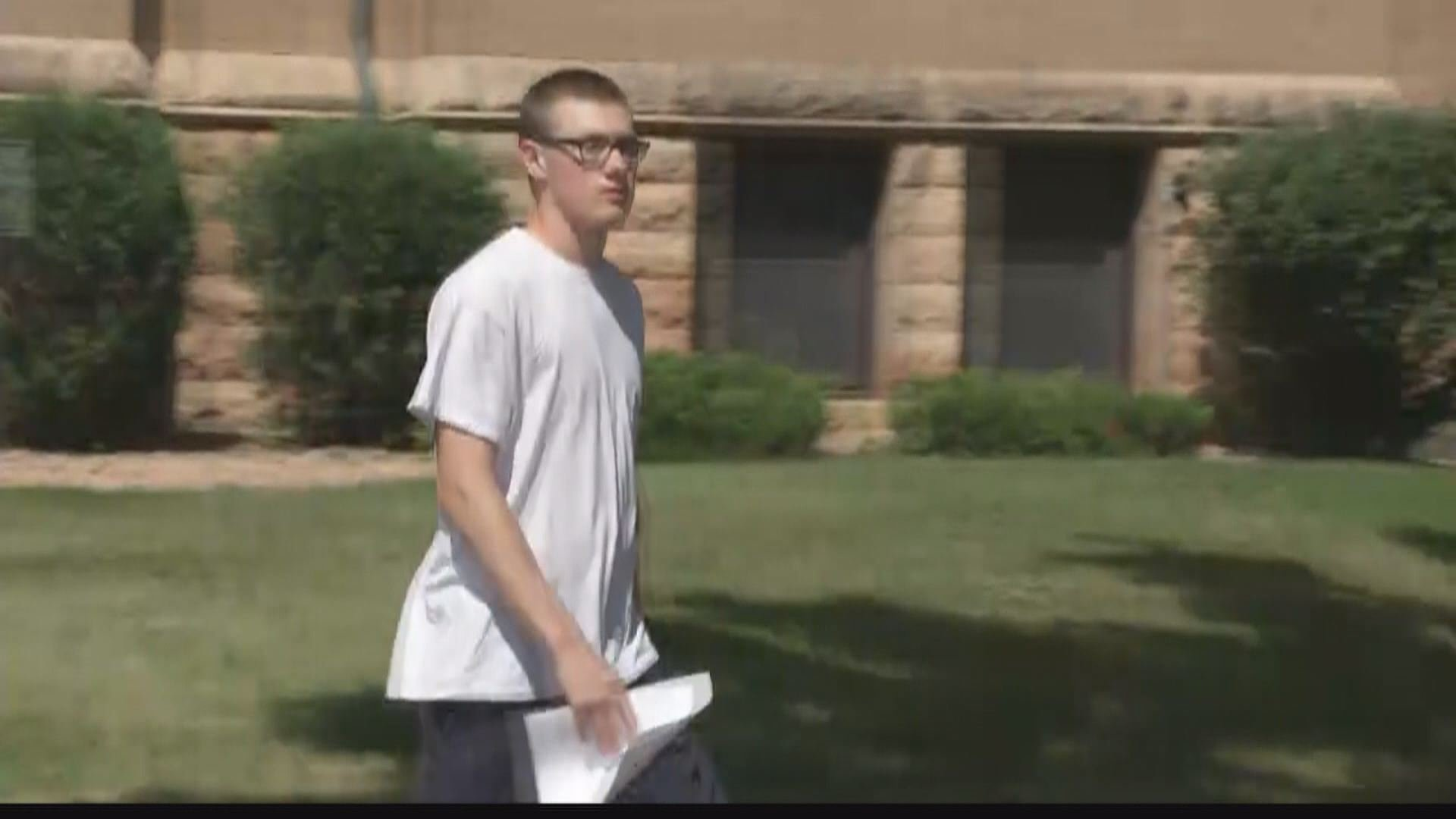 John LaDue walks out of Waseca County court Tuesday morning, free of probation.