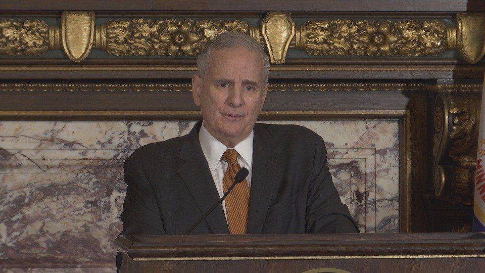 Mark Dayton appears after cancer surgery with clean report